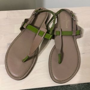 Cole Haan green and tan sandals